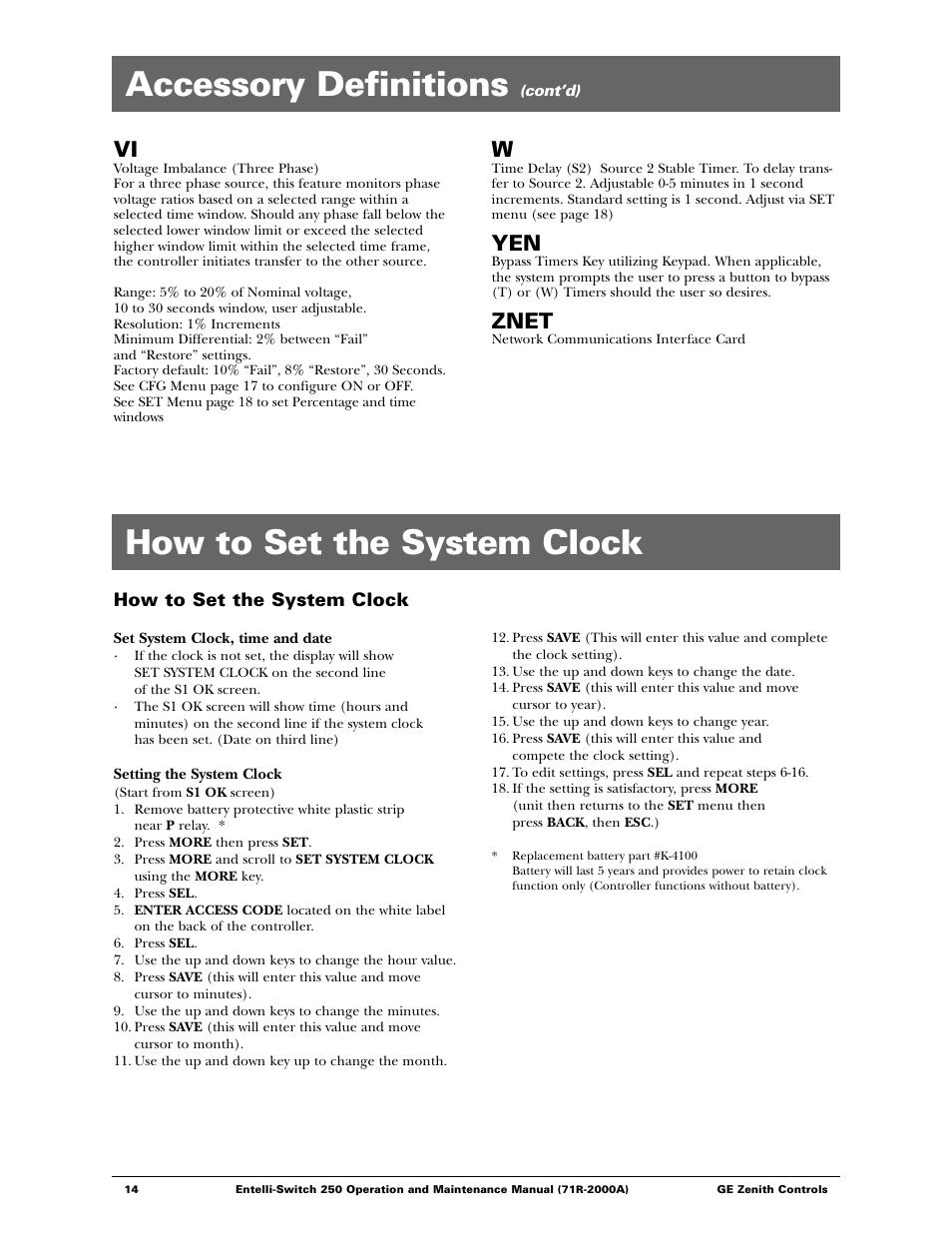 how to set the system clock accessory definitions znet ge rh manualsdir com GE Logo GE Logo
