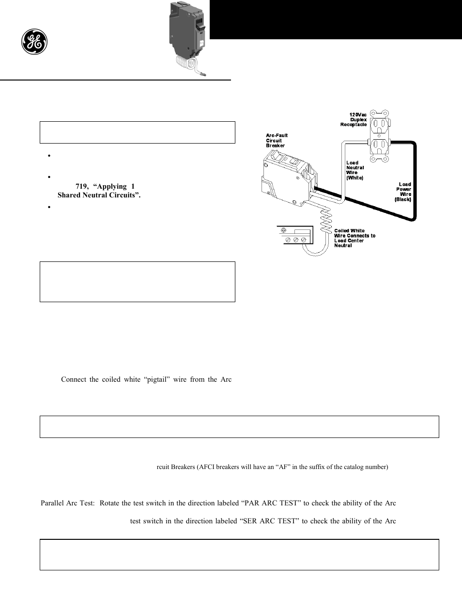 Arc Fault Circuit Breaker Wiring Diagram Library Additionally Ge Industrial Solutions Combination User Manual 2 Pages
