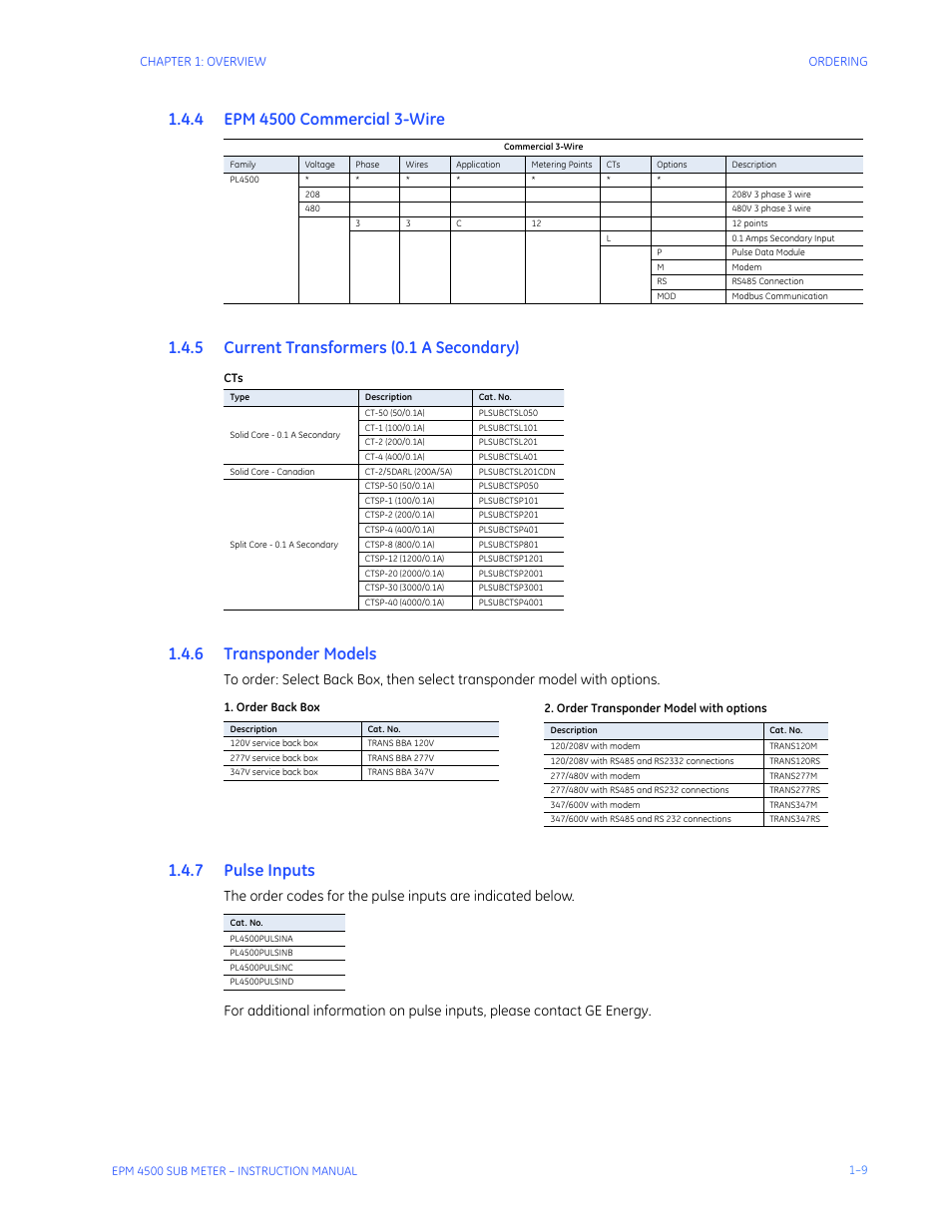 4 Current Transformers 01 A Secondary 5 Transponder Models 6 208v 3 Phase Wiring Pulse Inputs Ge Industrial Solutions Epm4500 Submeter User Manual Page 13 74