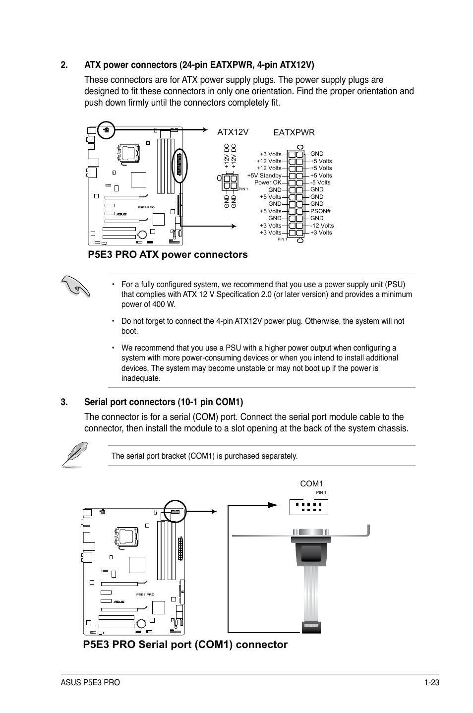 P5e3 Pro Serial Port Com1 Connector Atx Power Connectors Main Supply Pin Schematic Asus