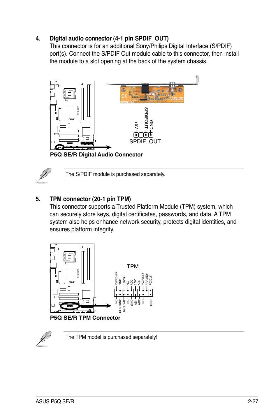 Asus P5q Se R 2 27 The S Pdif Module Is Purchased Separately Digital Audio Platform Connector User Manual Page 51 162