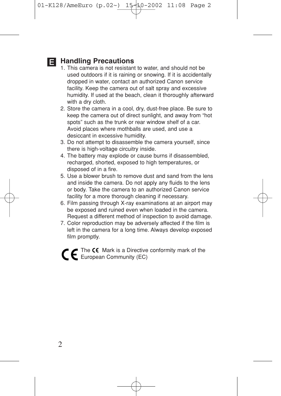 Handling precautions | Canon Prima AF-9s Set User Manual | Page 2 / 127
