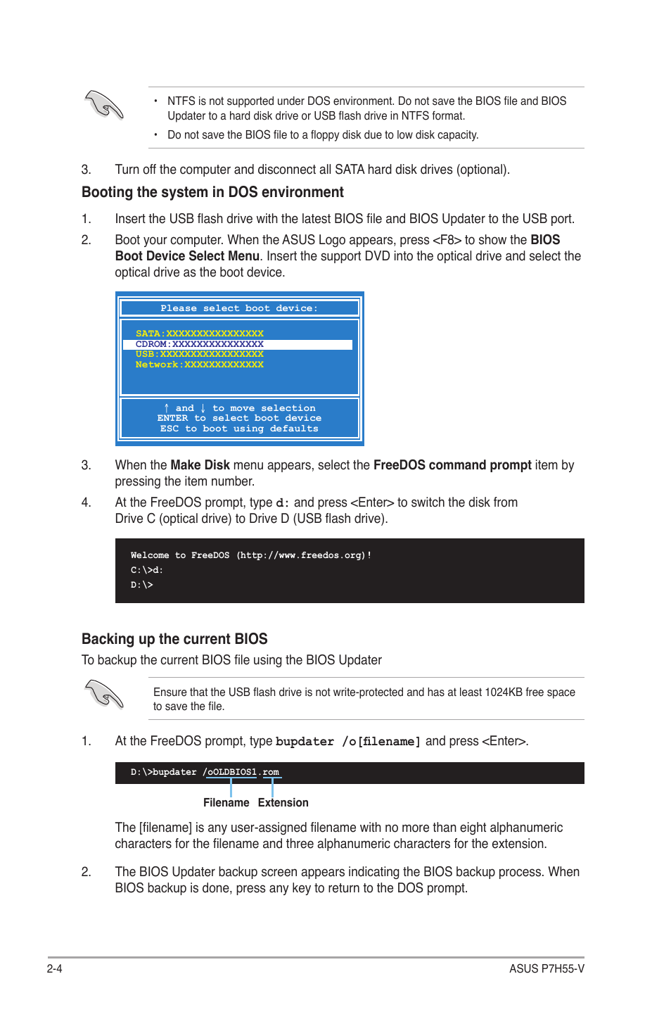 Booting the system in dos environment, Backing up the