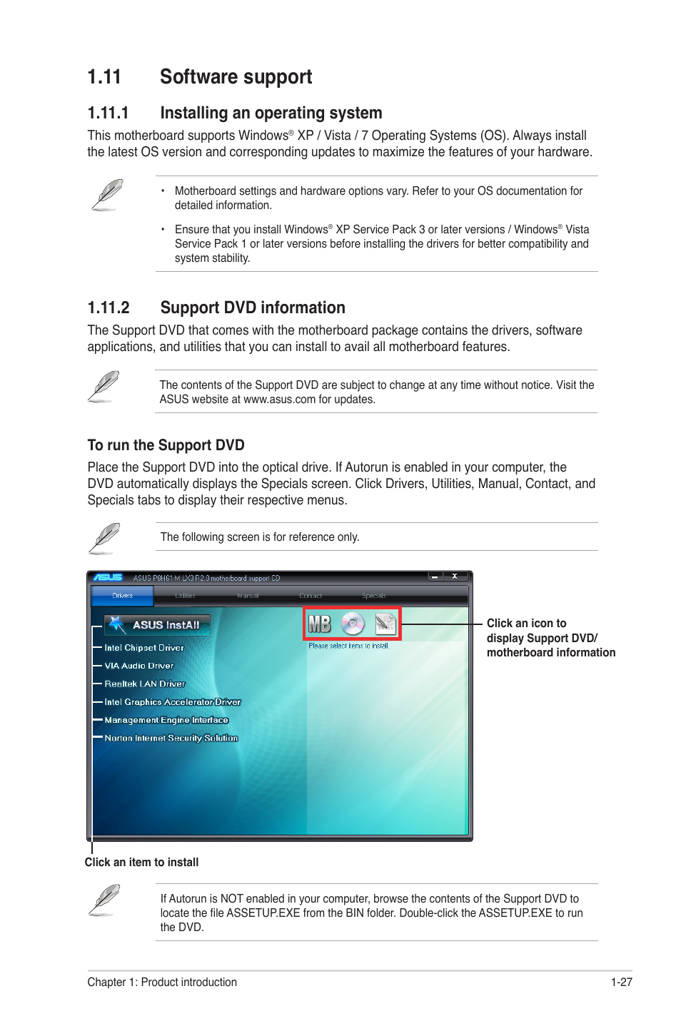 11 software support, 1 installing an operating system, 2 support dvd