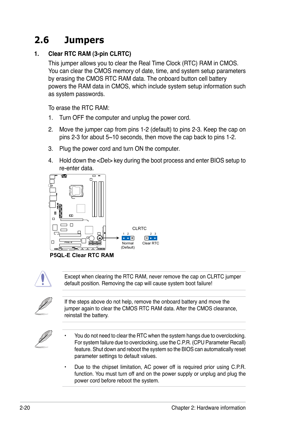 6 jumpers | Asus P5QL-E User Manual | Page 44 / 165