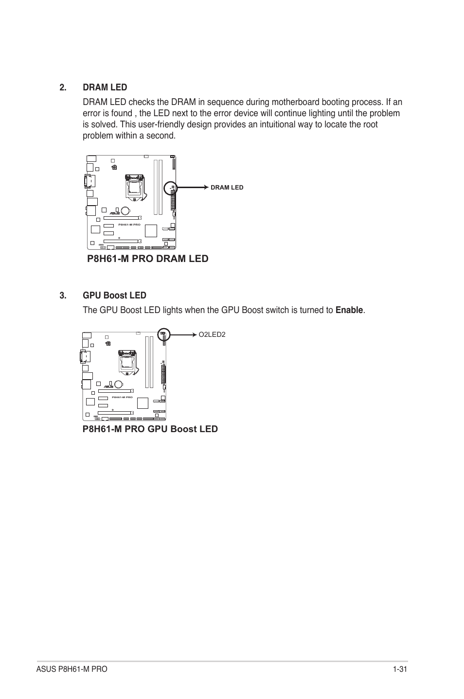 P8h61-m pro dram led | Asus P8H61-M PRO User Manual | Page