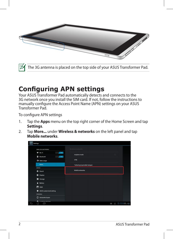 configuring apn settings asus transformer pad tf300tg user manual rh manualsdir com asus transformer pad tf300tg manual asus transformer pad tf300tg manual