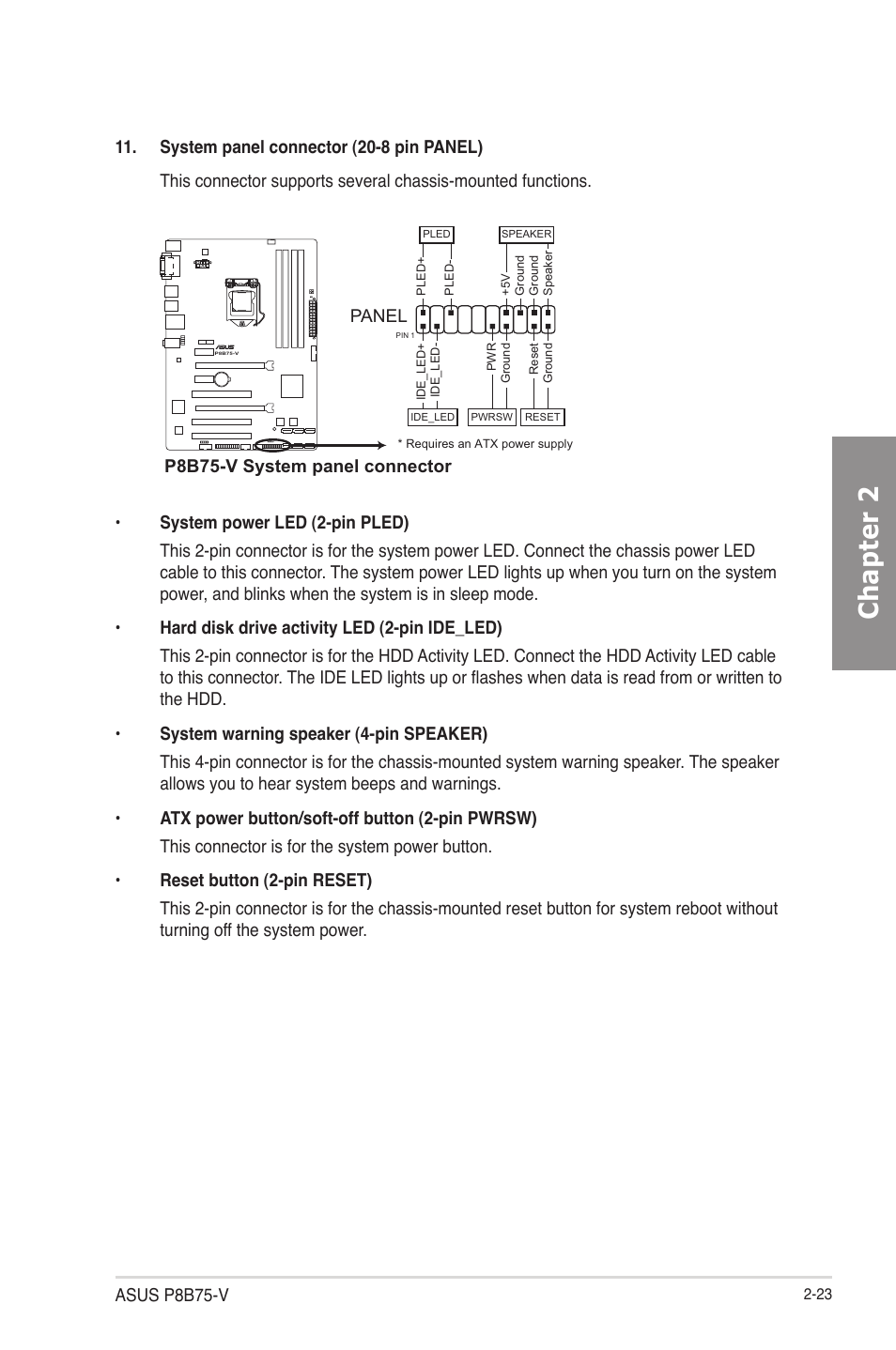 Chapter 2 Asus P8b75 V System Panel Connector Power Button Wiring Diagram User Manual Page 41 133