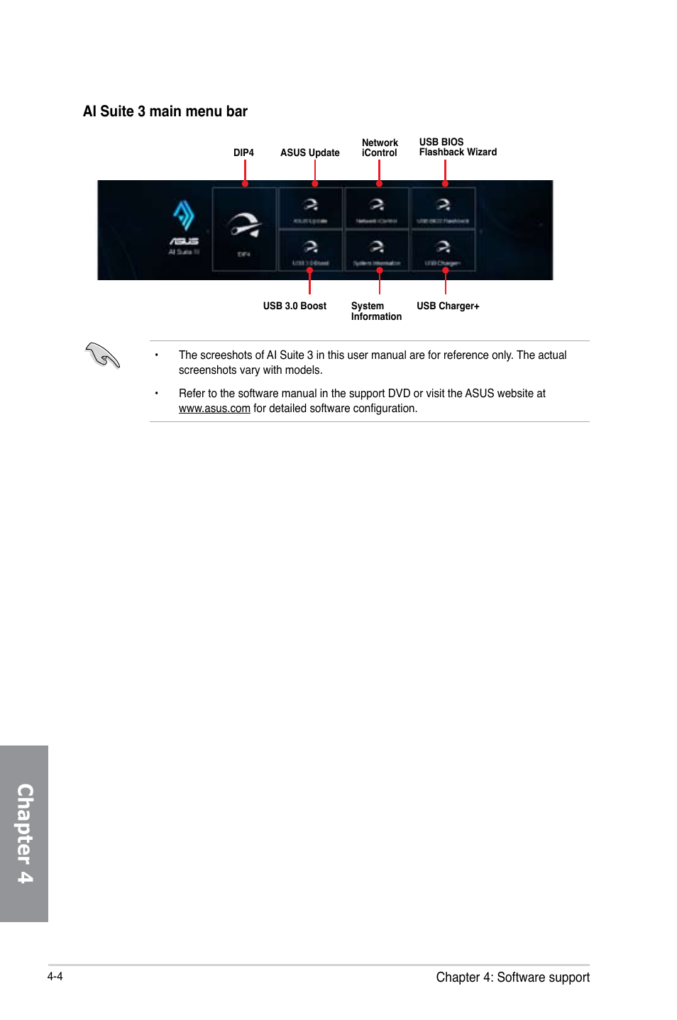 Chapter 4, Ai suite 3 main menu bar | Asus Z87M-PLUS User