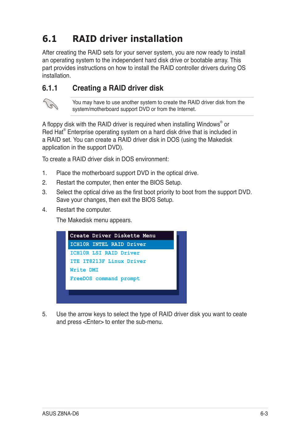 1 raid driver installation, 1 creating a raid driver disk | Asus