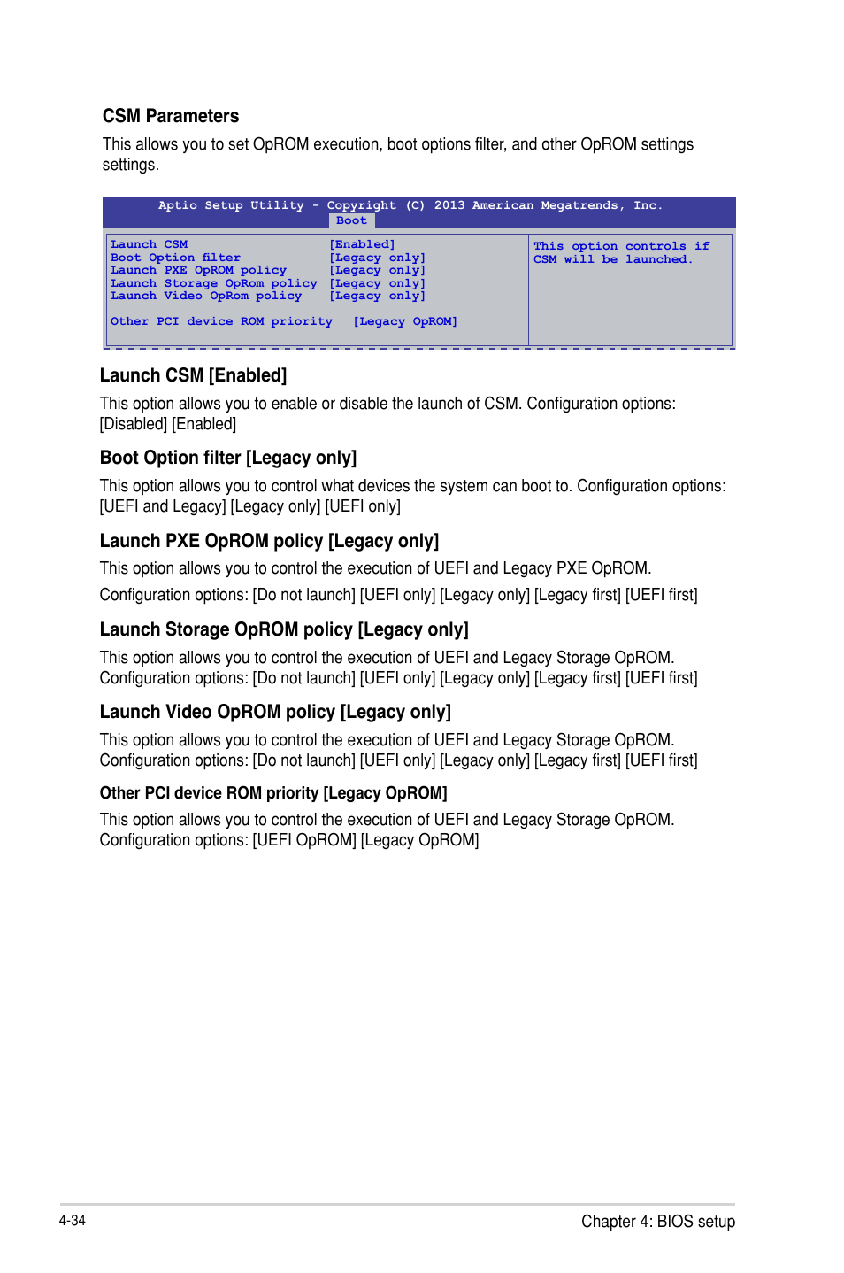 Csm parameters, Launch csm [enabled, Boot option filter [legacy only