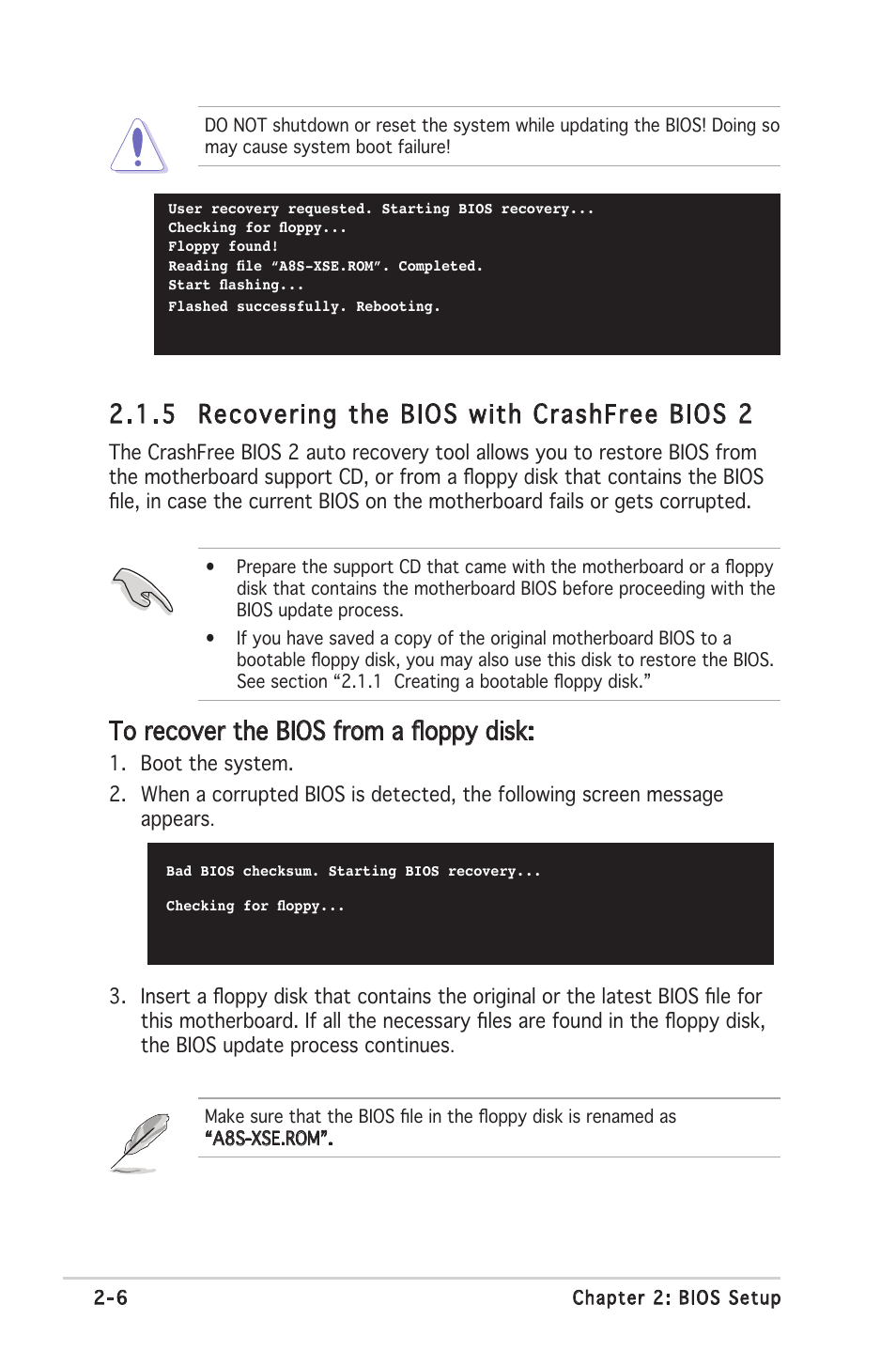 5 recovering the bios with crashfree bios 2 | Asus A8S-X