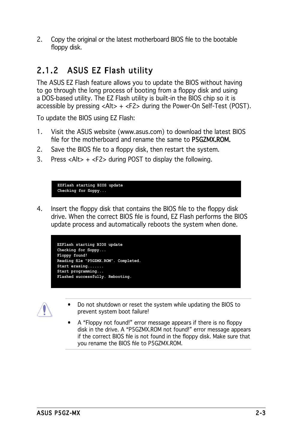 2 asus ez flash utility | Asus P5GZ-MX User Manual | Page 49