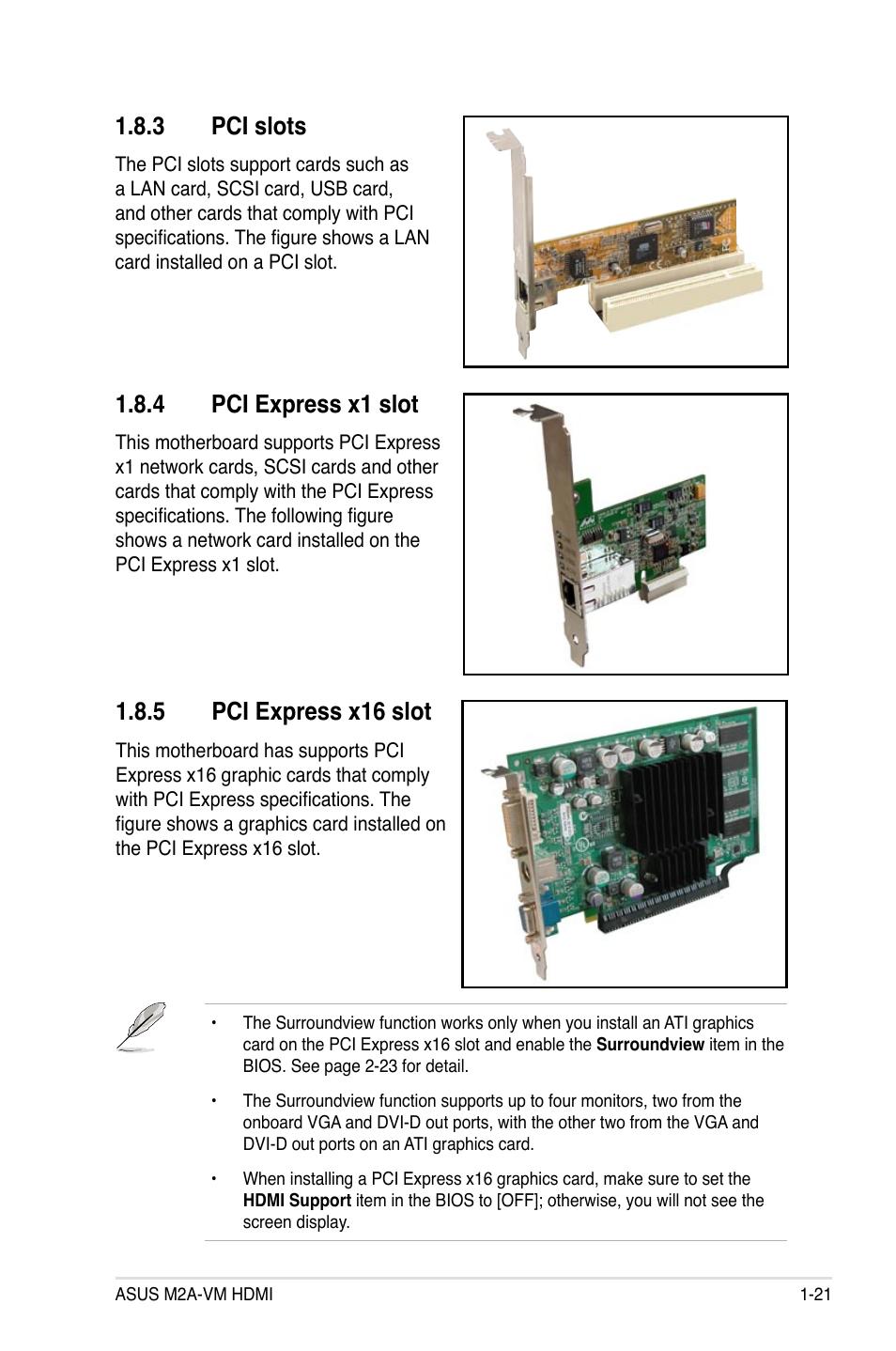 Pci slots, Pci express x1 slot, Pci express x16 slot   Asus
