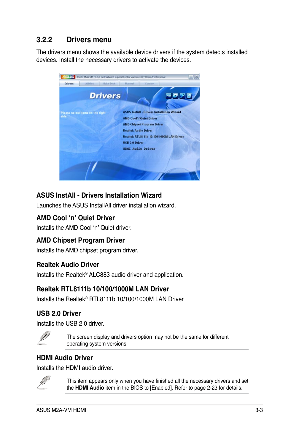 2 drivers menu | Asus M2A-VM HDMI User Manual | Page 95 / 100