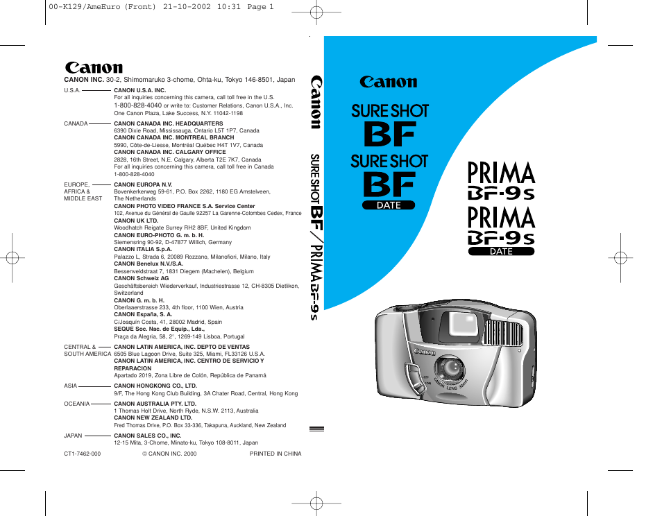 Canon Prima BF-9s Set User Manual | 119 pages