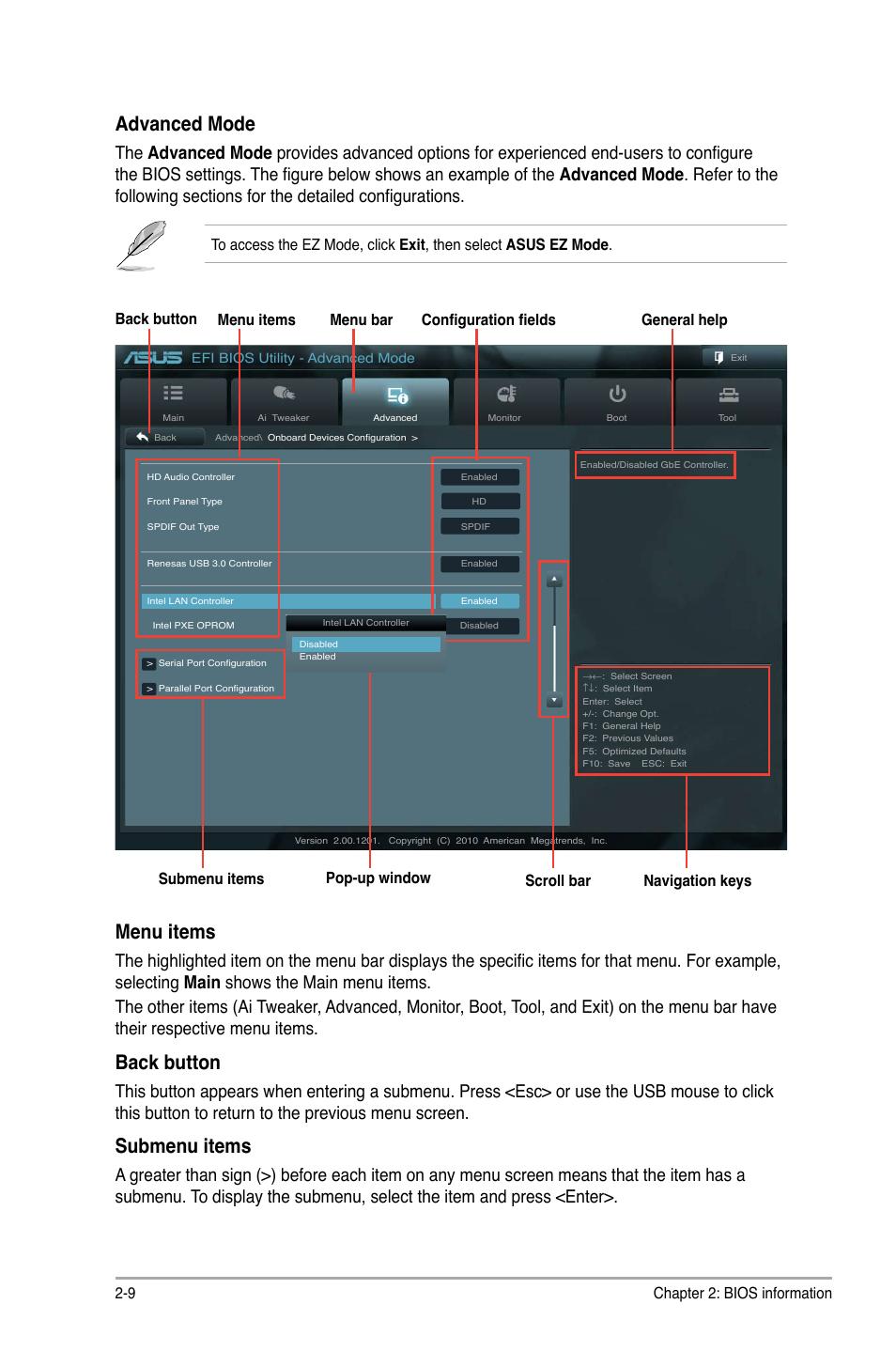 Advanced mode, Menu items, Back button   Asus P8Q67-M DO/TPM