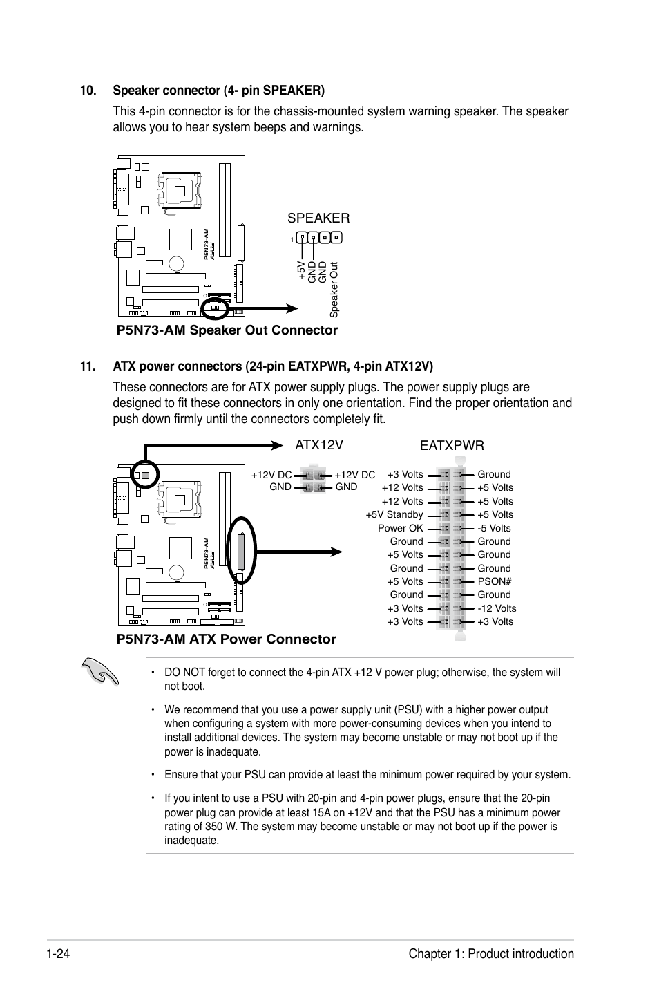 P5n73 Am Atx Power Connector Eatxpwr Atx12v Speaker Out 12 To 24 Volt Wiring Diagram 4 Prong Asus User Manual Page 34 60