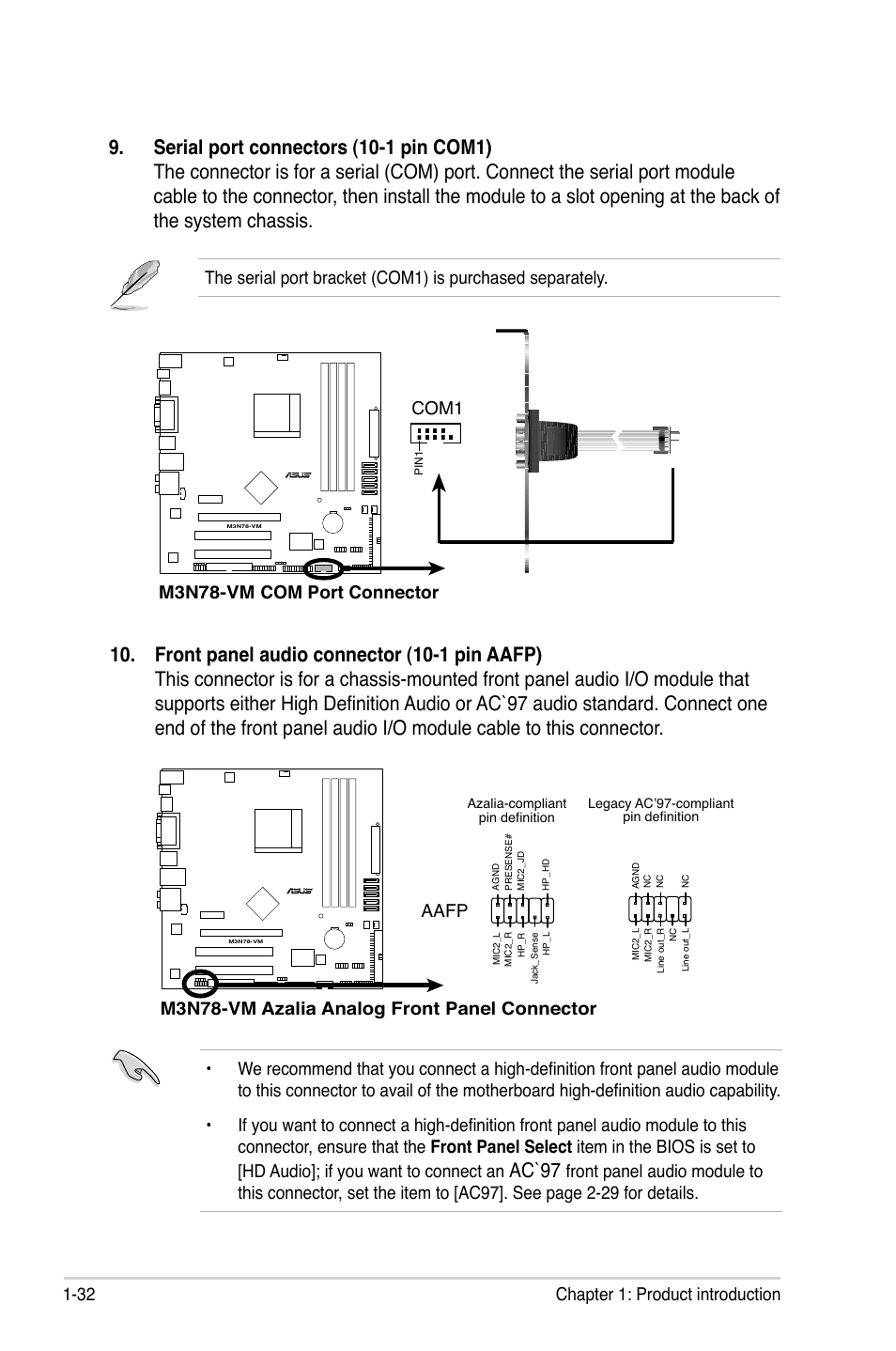 asus m3n78 vm page44 ac`97, 32 chapter 1 product introduction, m3n78 vm com port VMware View Diagram at aneh.co