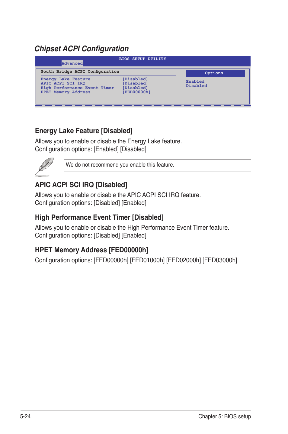 Chipset acpi configuration, Energy lake feature [disabled