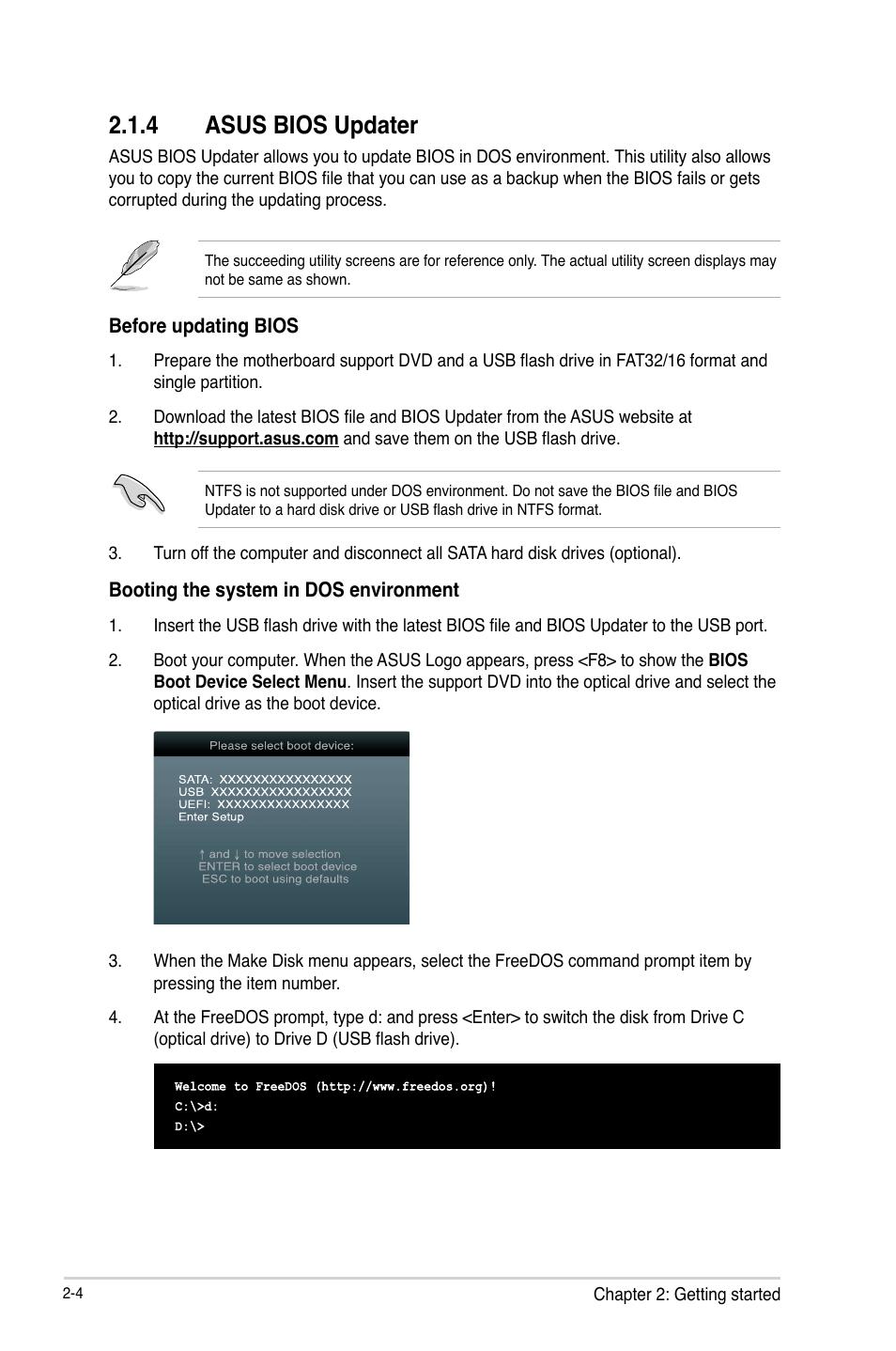 4 asus bios updater | Asus H61M-E User Manual | Page 44 / 78