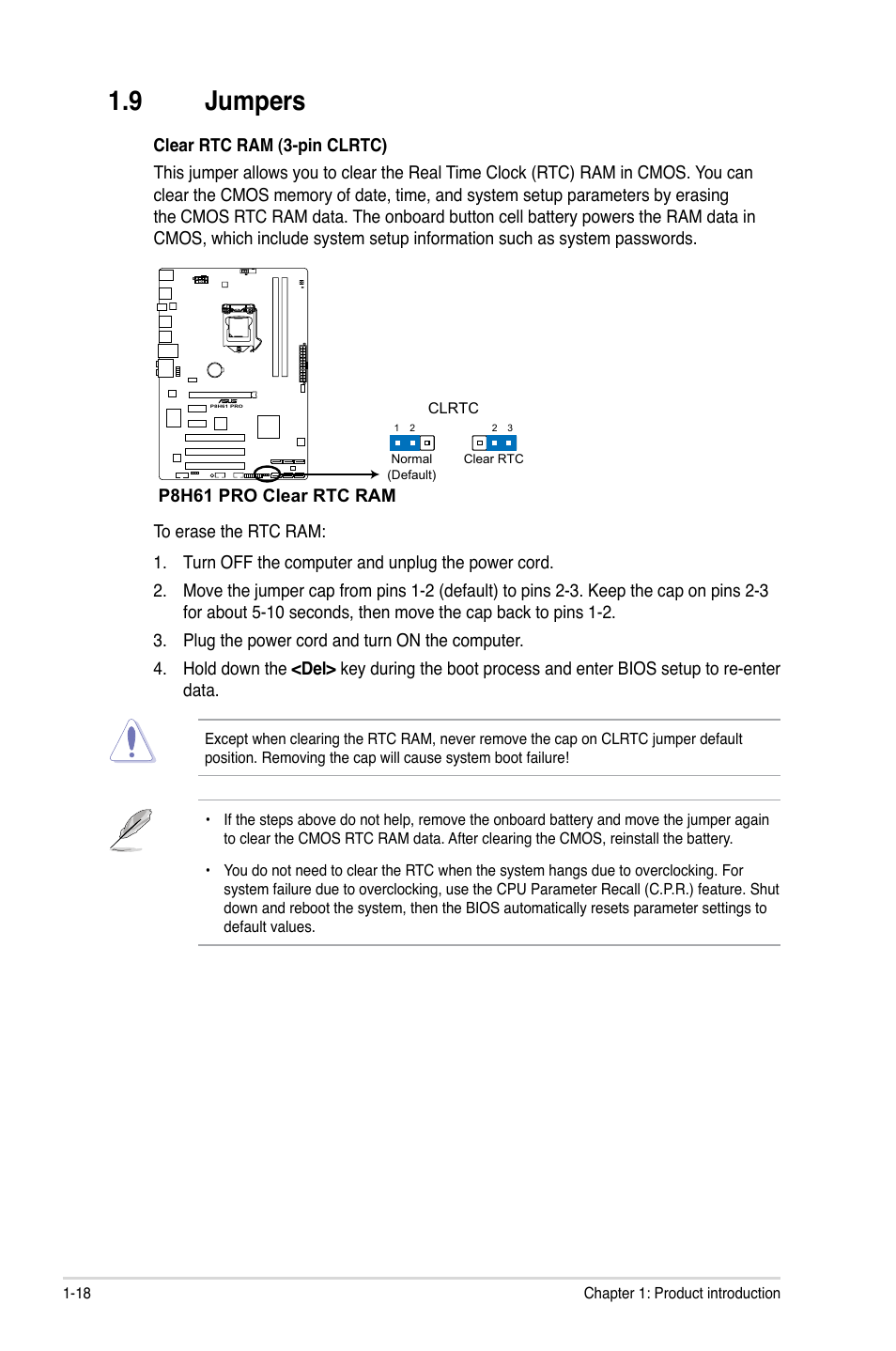 9 jumpers, Jumpers -18 | Asus P8H61 PRO User Manual | Page
