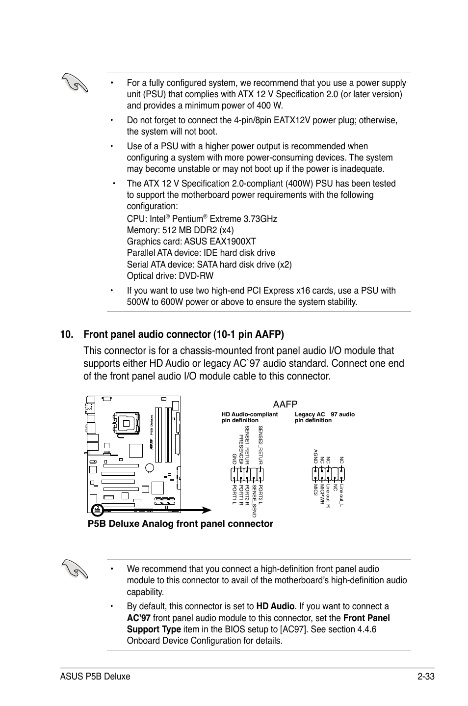 Pentium, P5b deluxe analog front panel connector aafp   Asus P5B Deluxe/WiFi -AP User Manual   Page 59 / 178