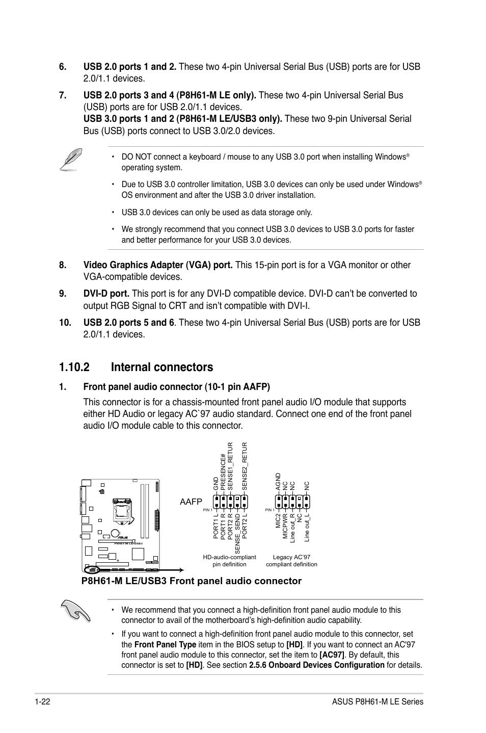 2 internal connectors, 2 internal connectors -22, P8h61-m le