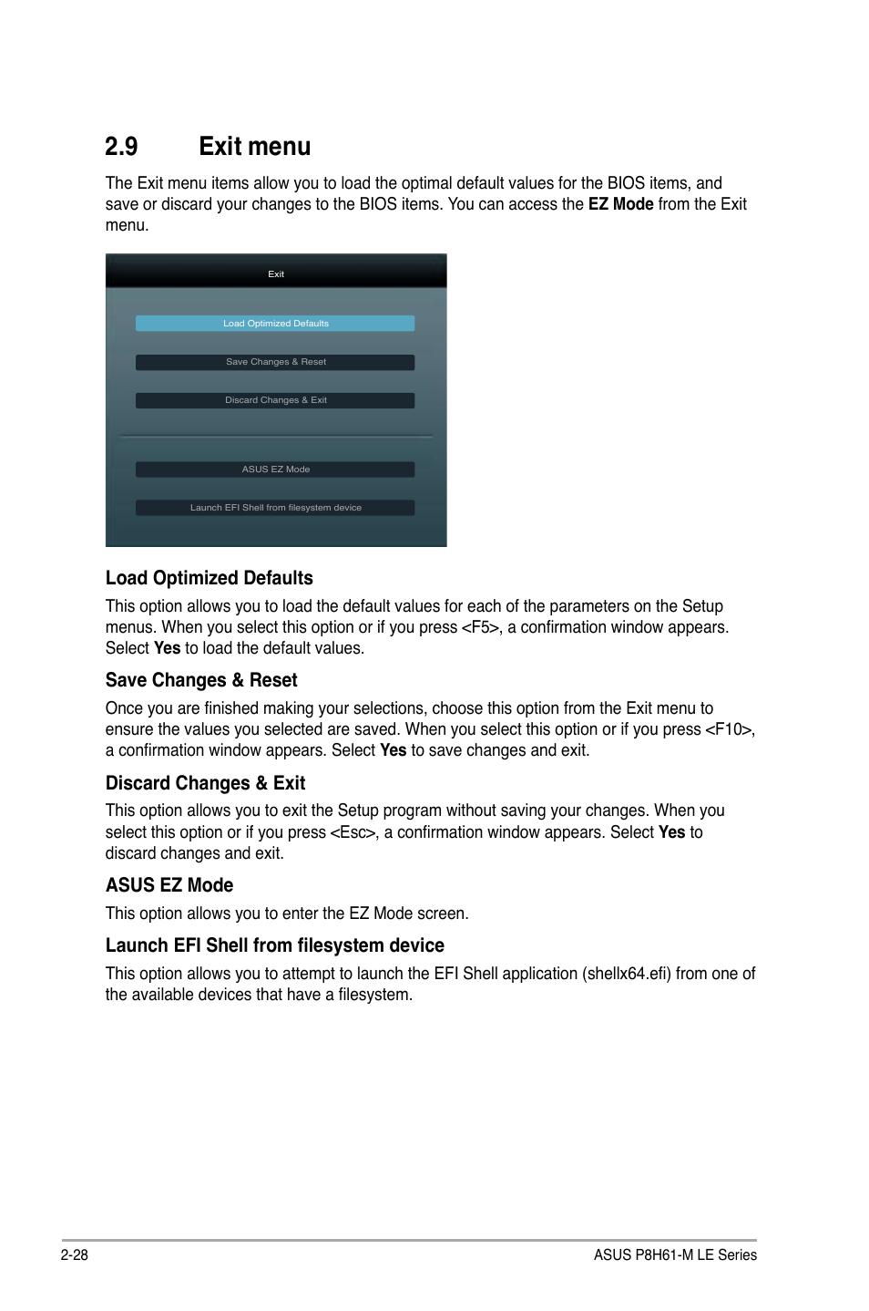 9 exit menu, Exit menu -28 | Asus P8H61-M LE/USB3 User