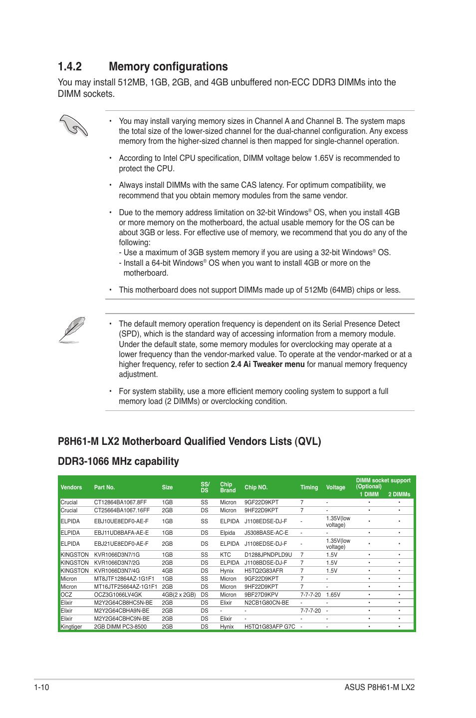 2 memory configurations, Memory configurations -10 | Asus P8H61-M