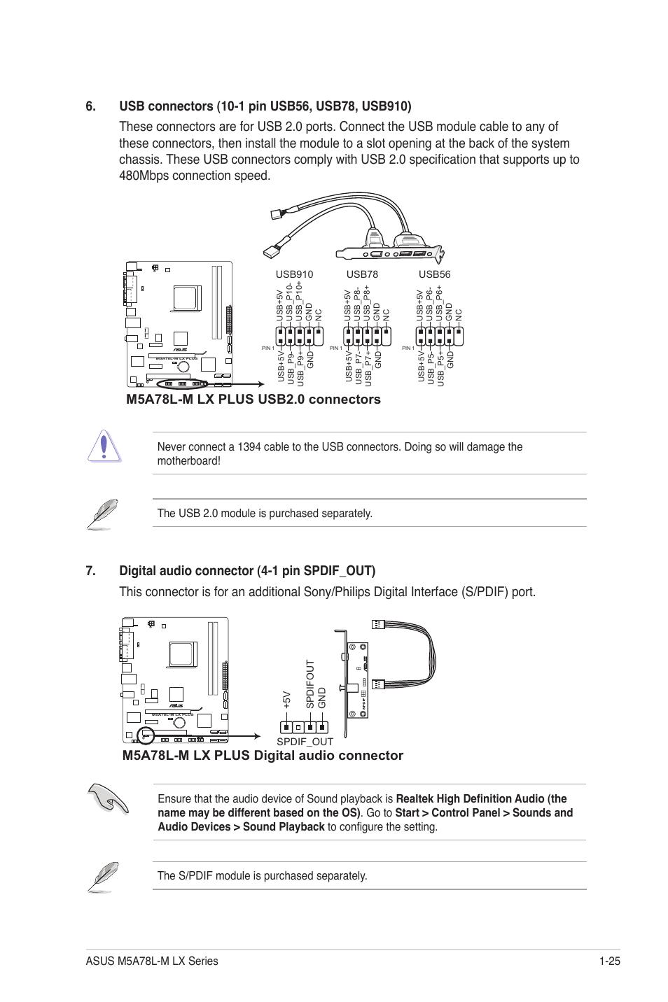 M5a78l M Lx Plus Digital Audio Connector Asus M5a78l M