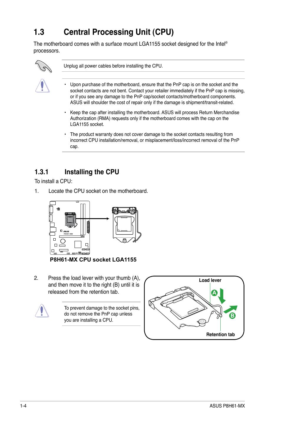 3 Central Processing Unit  Cpu   1 Installing The Cpu