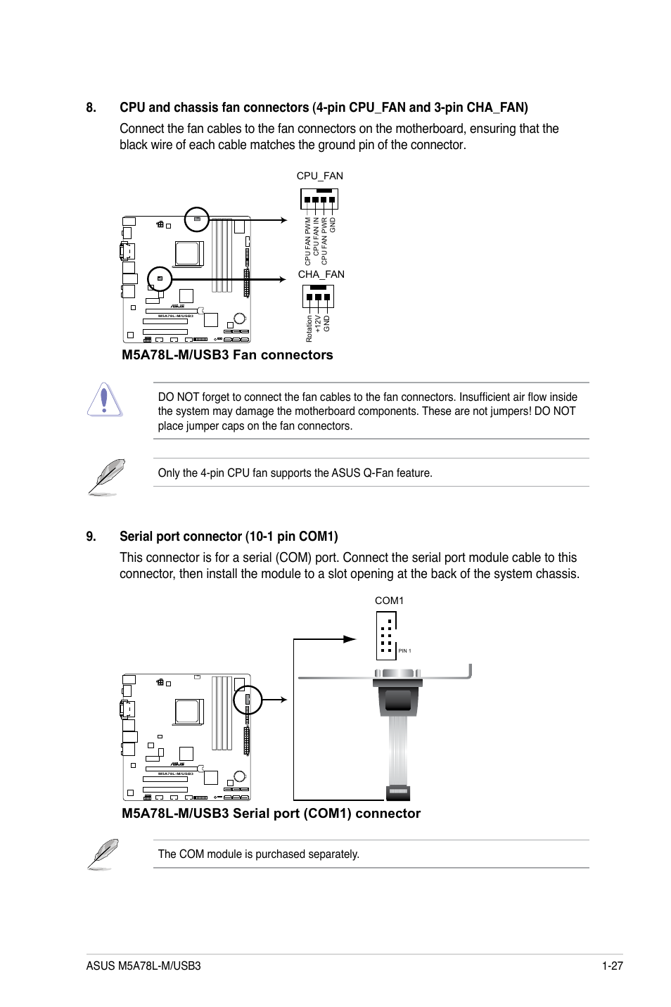 M5a78l M Usb3 Fan Connectors Asus User Manual Page Motherboard Components Diagram 37 64