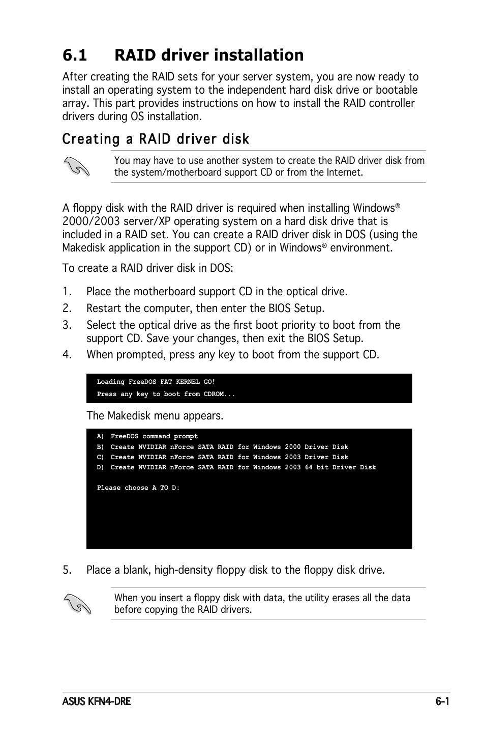 1 raid driver installation, Creating a raid driver disk