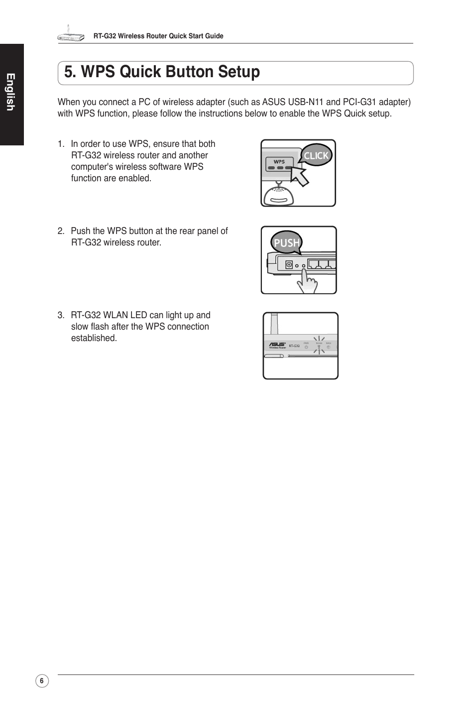 Wps quick button setup | Asus RT-G32 User Manual | Page 7 / 73