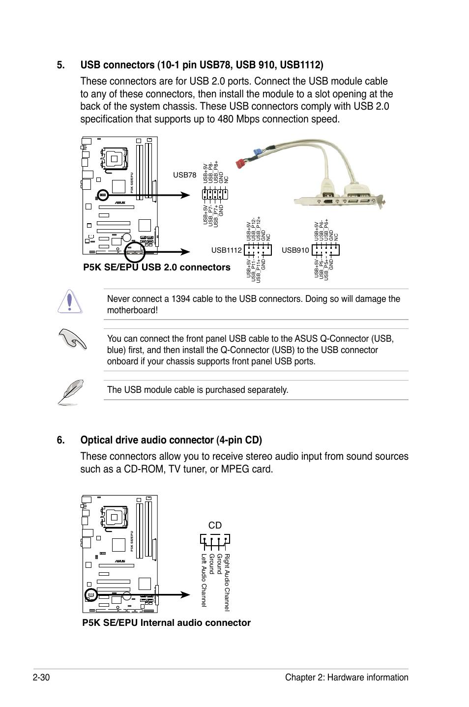 30 Chapter 2 Hardware Information P5k Se Epu Usb 20 Connectors Pins Diagram Internal Audio Connector Cd Asus User Manual Page 52 134