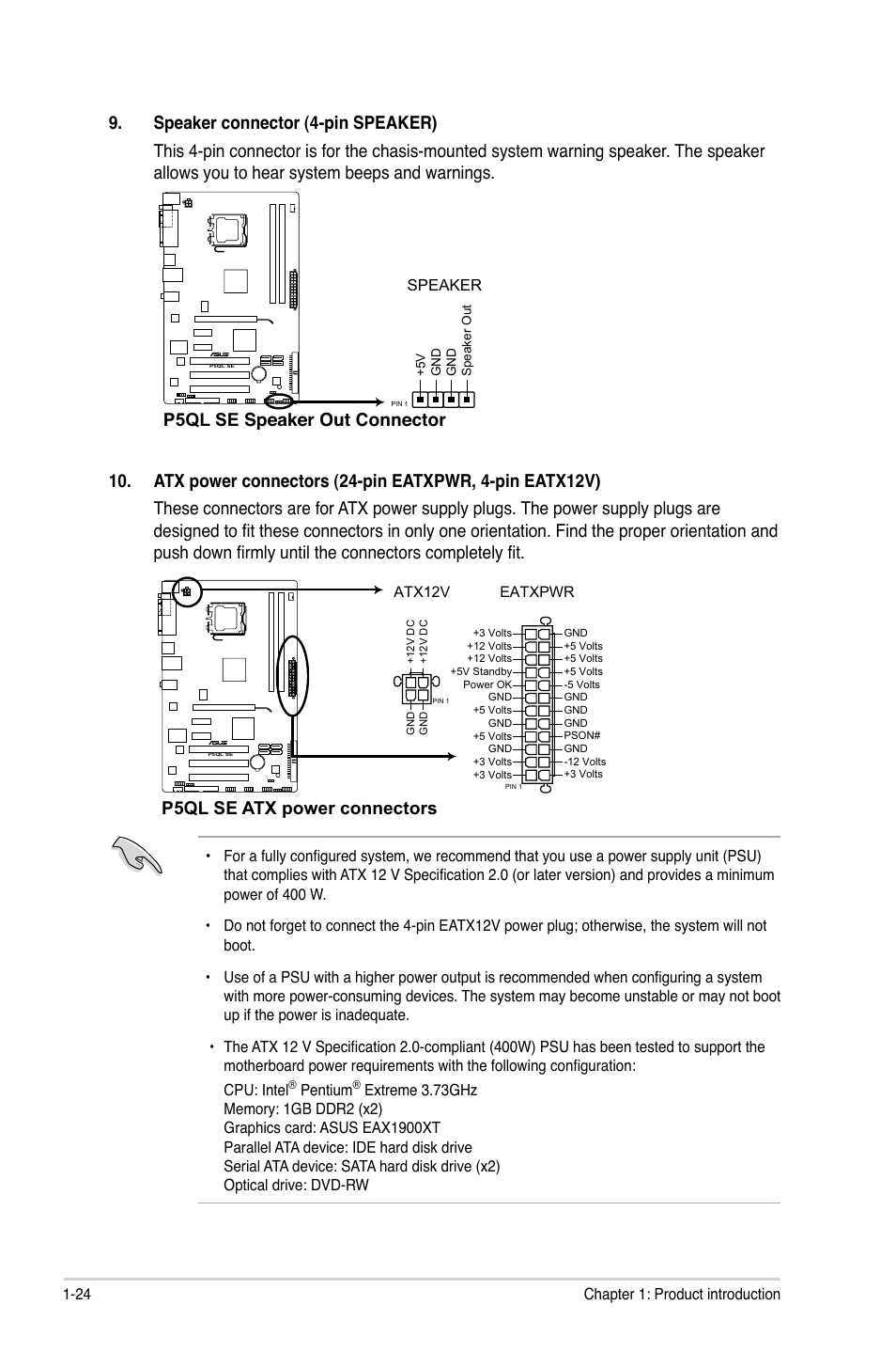 P5ql Se Atx Power Connectors Asus User Manual Page 34 60 Supply Pin Out Connector