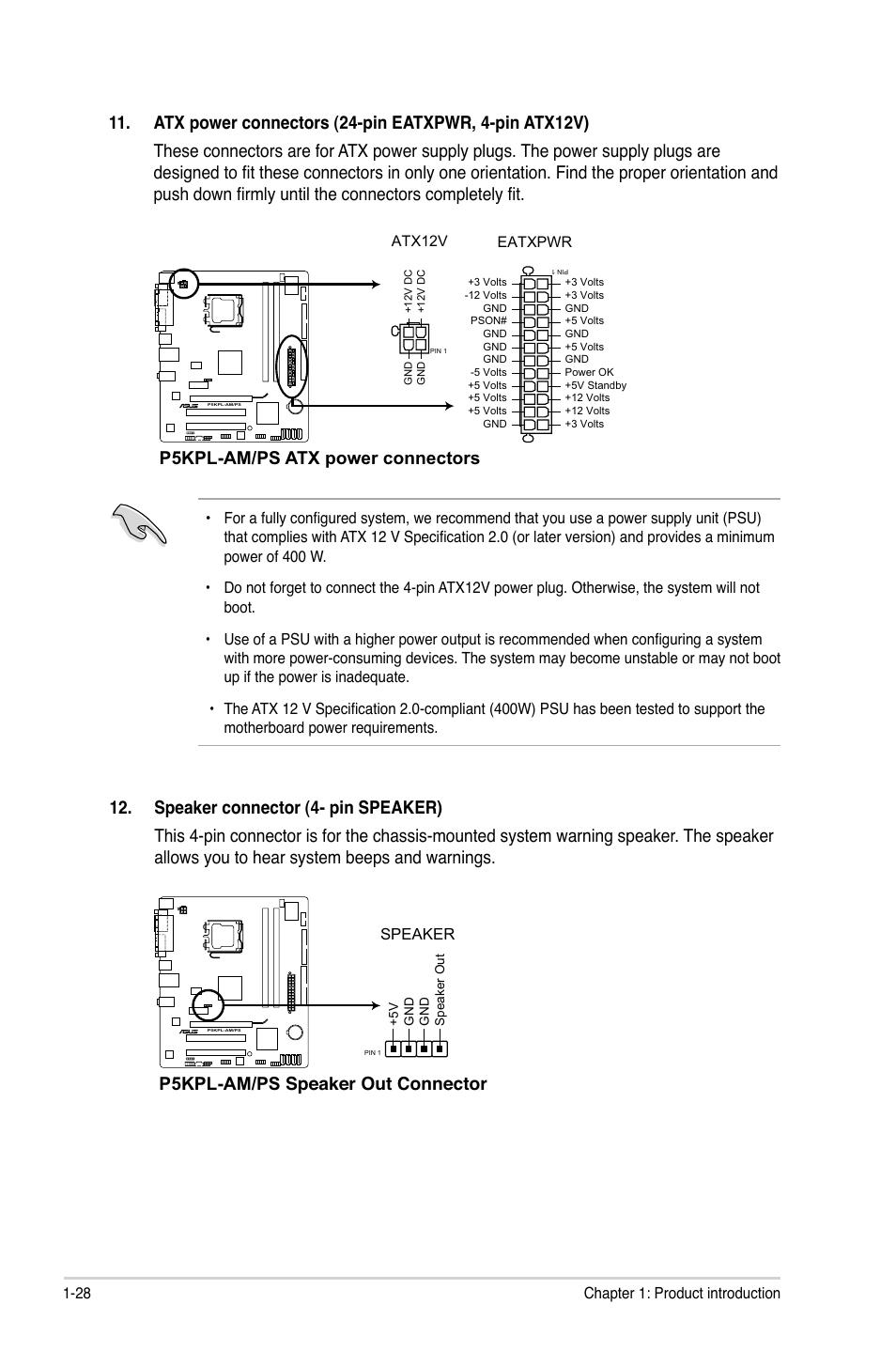 P5kpl Ps Atx Power Connectors  P5kpl Ps Speaker Out
