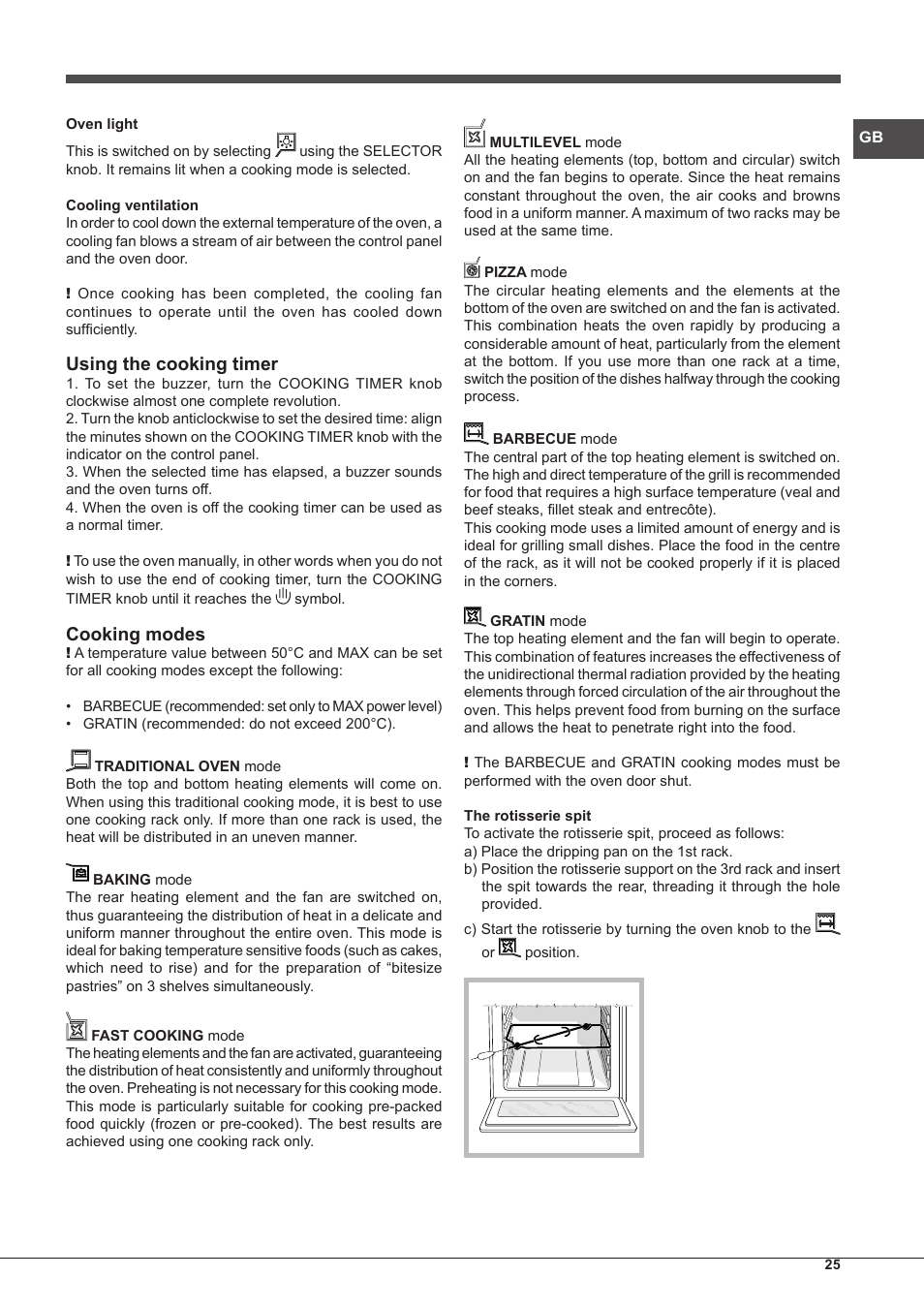 Using The Cooking Timer Cooking Modes Hotpoint Ariston Cp77sp2 Ha