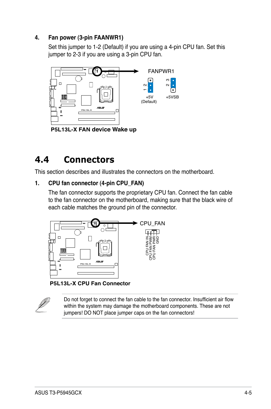 4 connectors, Device wake up | Asus T3-P5945GCX User Manual ... on