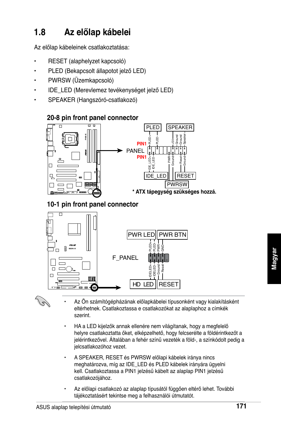 8 az előlap kábelei, F_panel, Hd led reset pwr led pwr btn   Asus M2Ne User Manual   Page 172 / 691