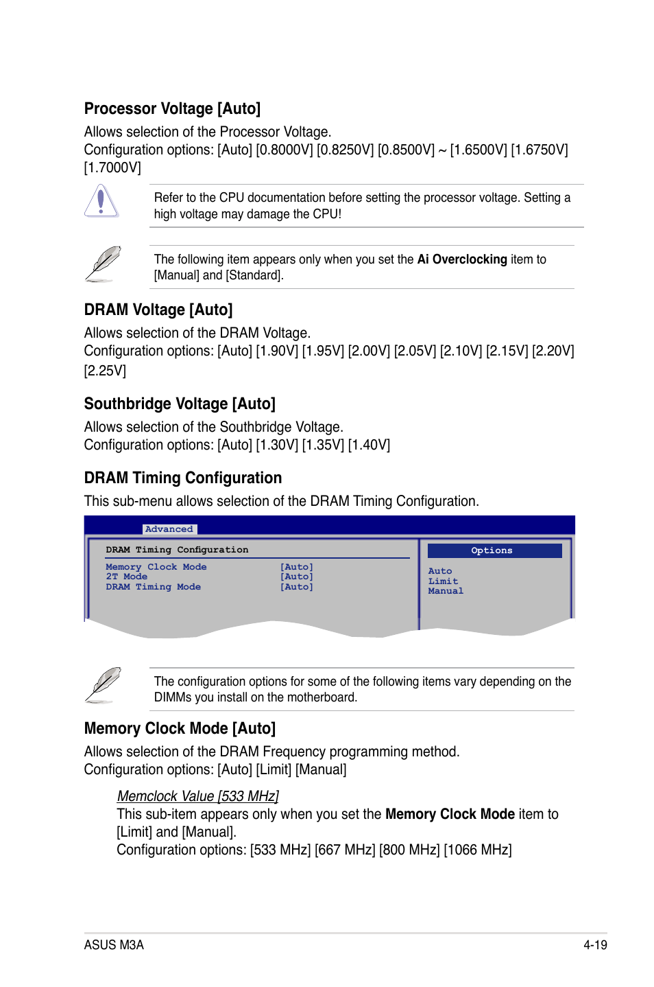 Dram voltage [auto, Southbridge voltage [auto, Dram timing configuration   Asus M3A User Manual   Page 79 / 134