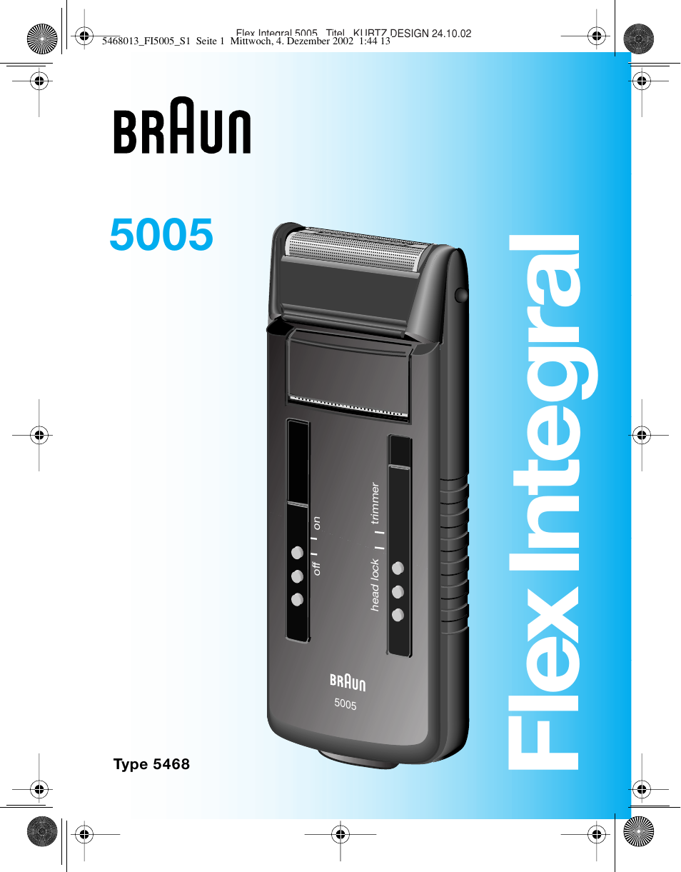 braun 5005 flex integral user manual 54 pages also for. Black Bedroom Furniture Sets. Home Design Ideas