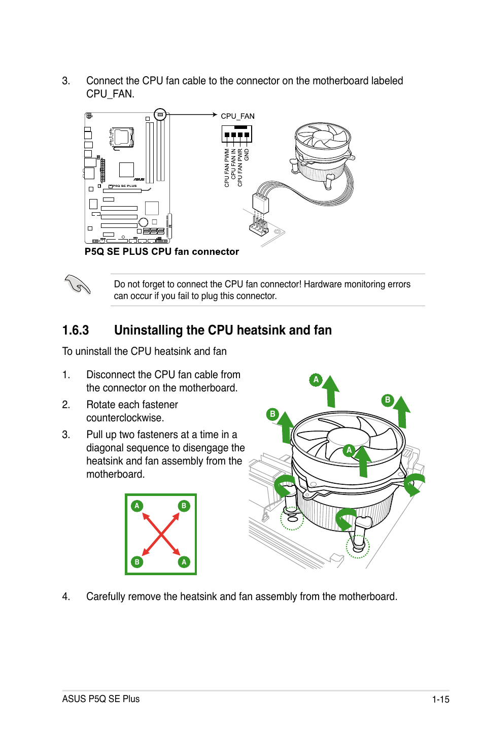 3 Uninstalling The Cpu Heatsink And Fan Asus P5q Se Plus User Labeled Motherboard Diagram Manual Page 27 100