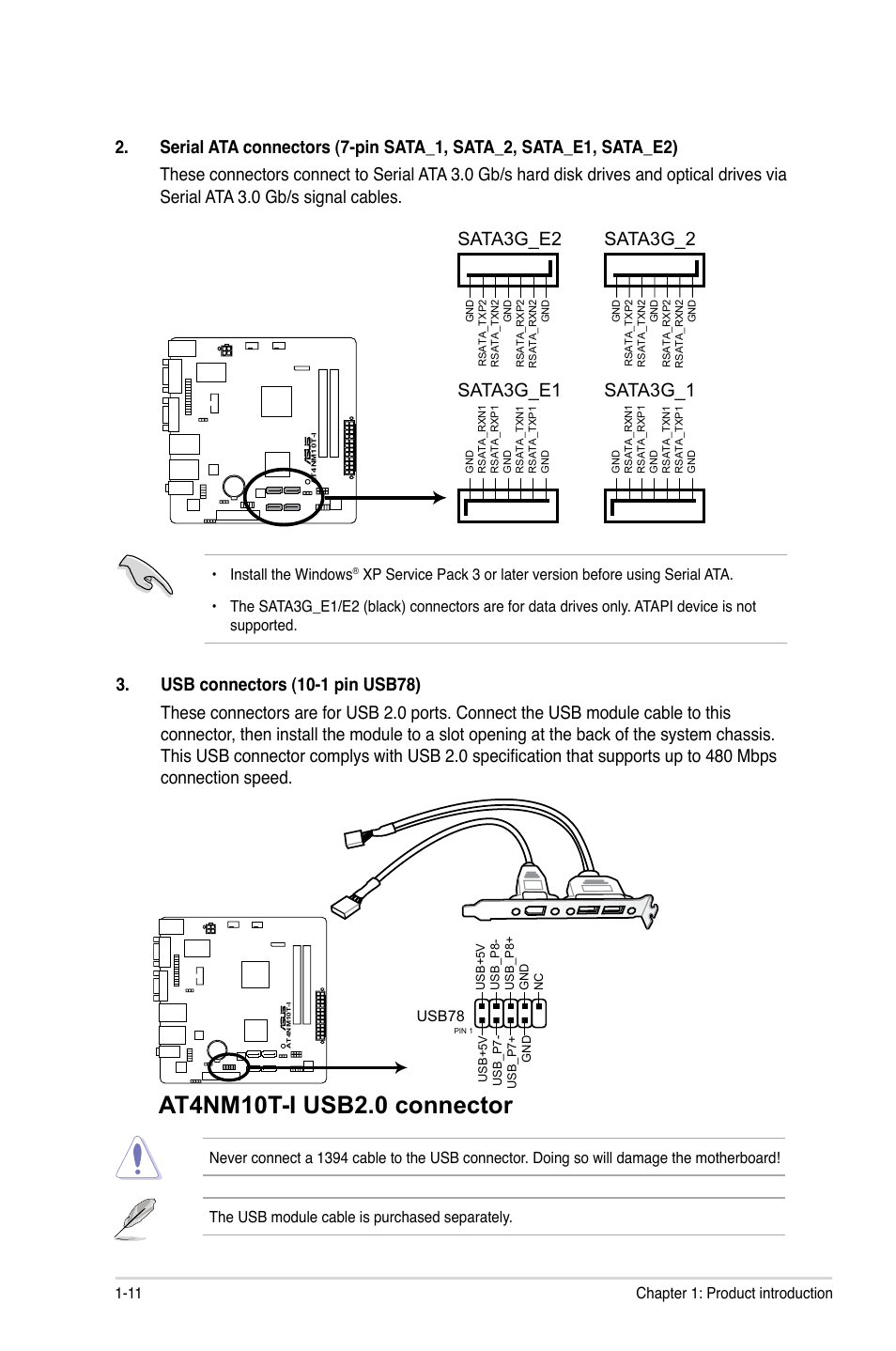 Sata3g_e2 sata3g_e1, Sata3g_2 sata3g_1 | Asus AT4NM10T-I User Manual | Page  21 / 44