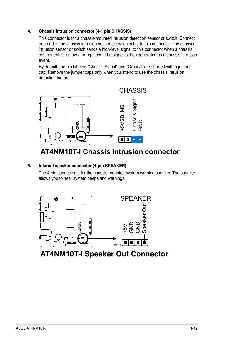 At4nm10t-i speaker out connector, At4nm10t-i chassis intrusion connector,  Speaker | Asus AT4NM10T-I User Manual | Page 22 / 44