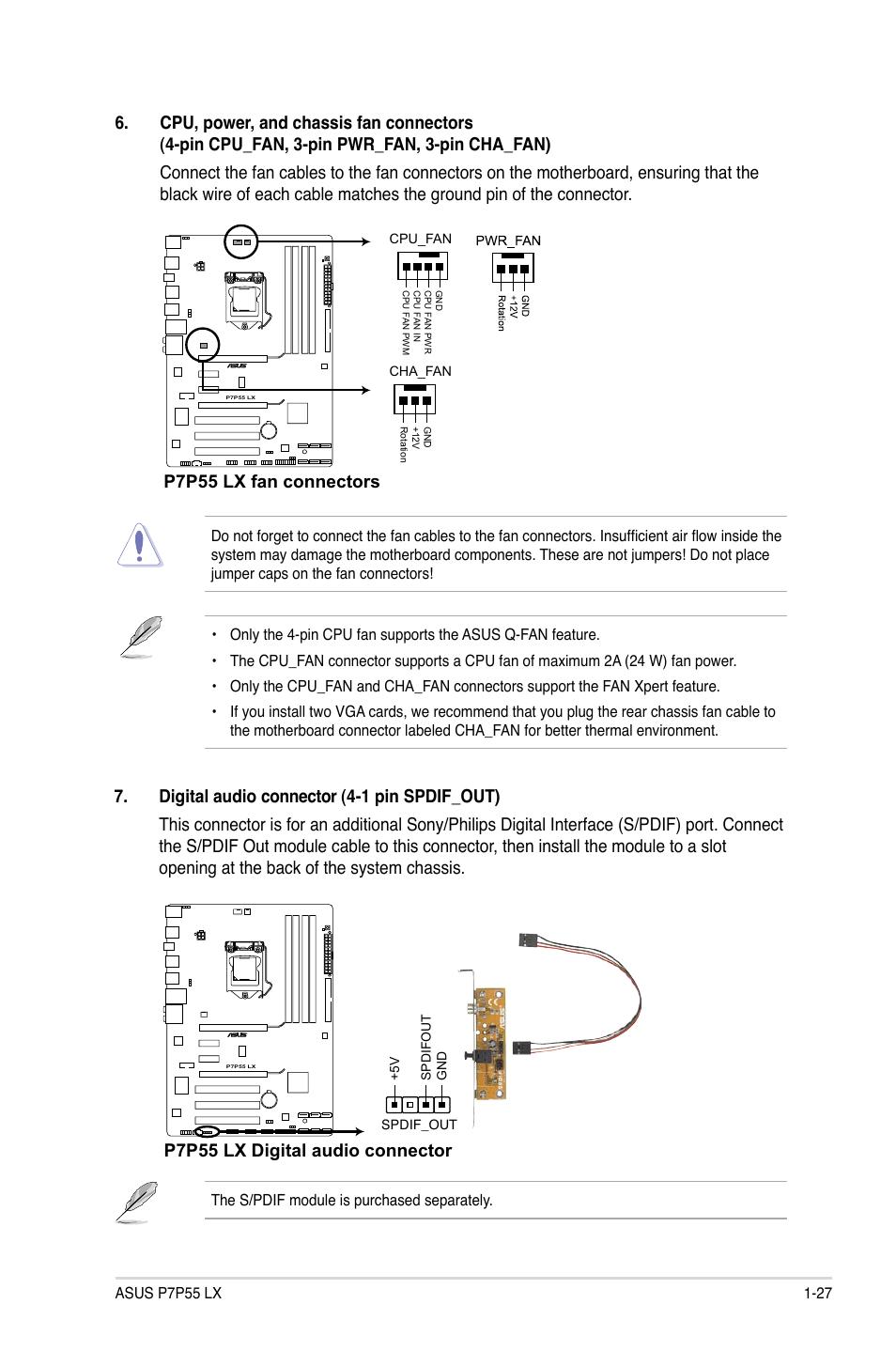 P7p55 Lx Fan Connectors Digital Audio Connector Asus Motherboard Wiring Diagram Jooyon Si User Manual Page 39 70