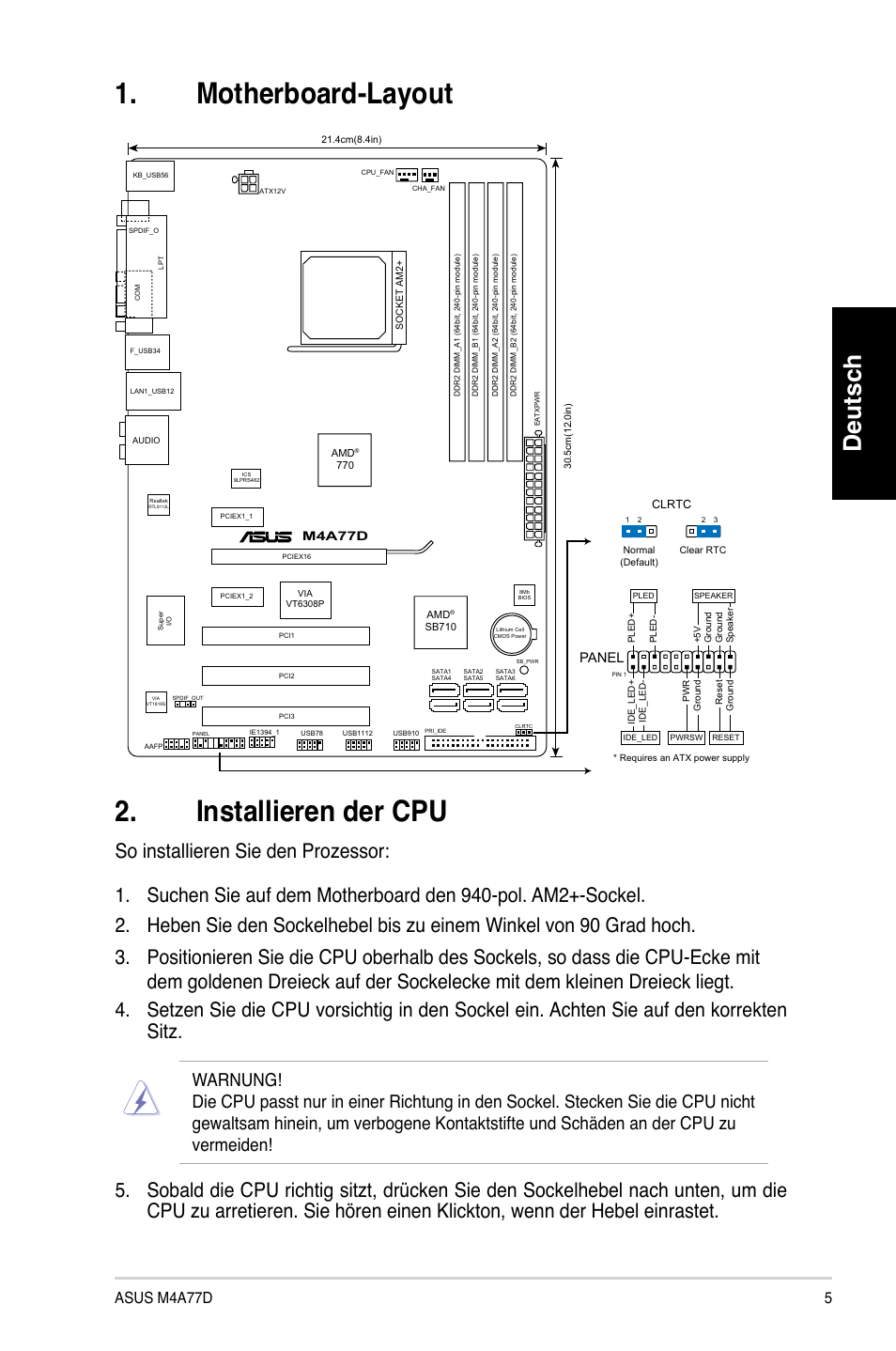 Motherboard Layout 2 Installieren Der Cpu Deutsch Asus M4a77d Diagram Panel