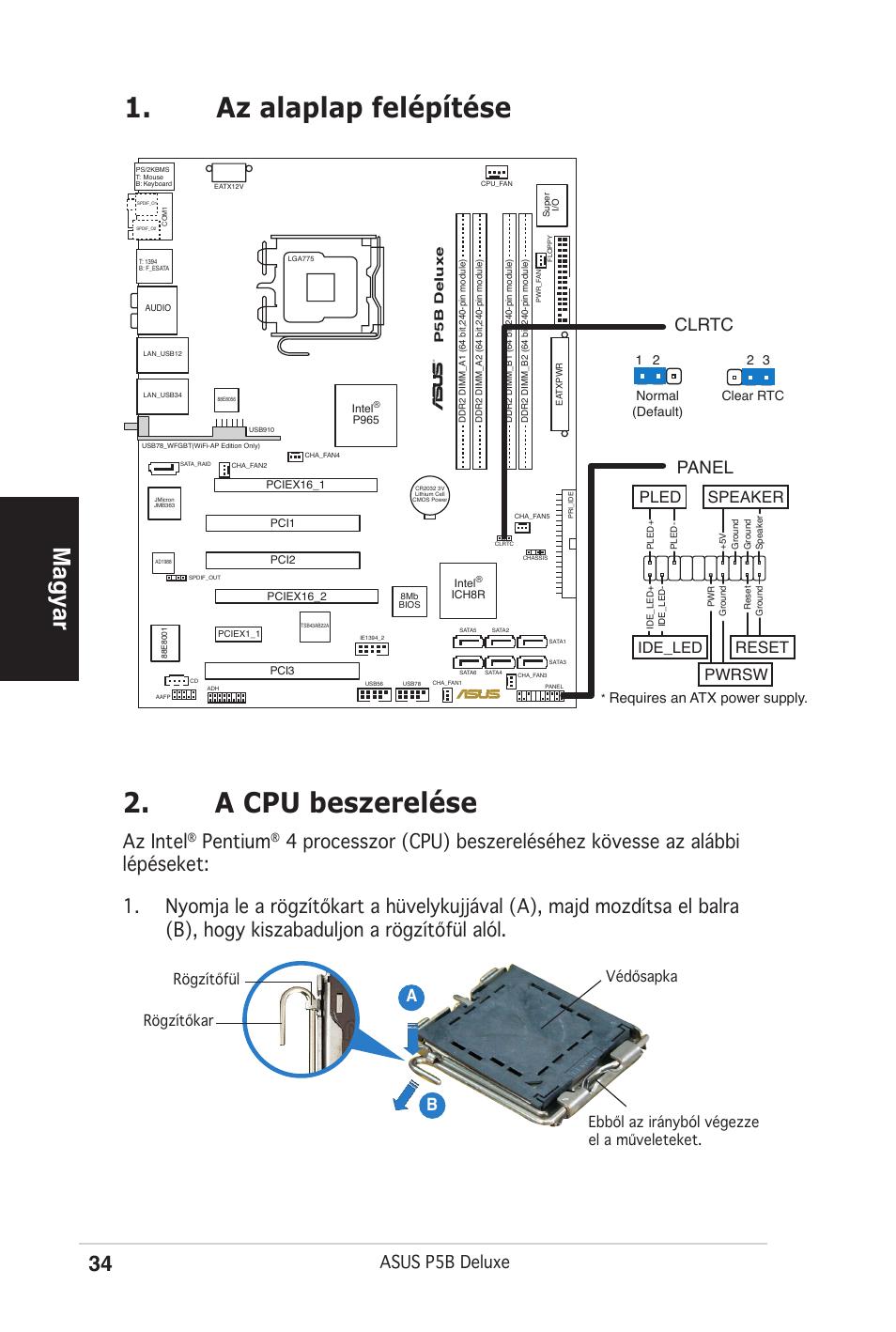 Az alaplap felépítése 2. a cpu beszerelése, Magyar, Az intel | Pentium,