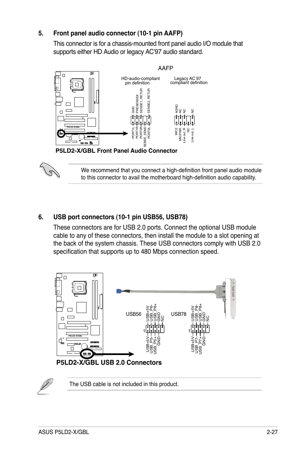 P5ld2-x/gbl usb 2.0 connectors, The usb cable is not included in